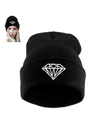 Fashion Black Diamond Shape Pattern Decorated Simple Hat