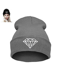 Fashion Gray Diamond Shape Pattern Decorated Simple Hat