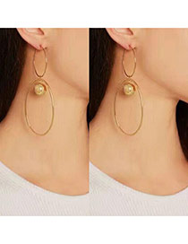 Fashion Gold Color Round Shape Decorated Pure Color Holow Out Earrings