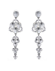 Fashion Silver Color Round Shape Diamond Decorated Simple Long Earrings