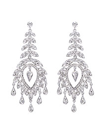 Fashion Silver Color Watershape Diamond Decorated Tassel Design Simple Earrings