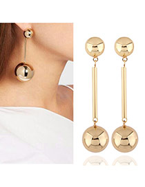 Elegant Gold Color Double Ball Shape Decorated Pure Color Earring
