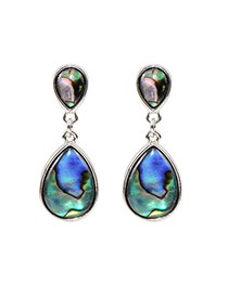 Fashion Multi-color Painted Sculptures Pattern Decorated Waterdrop Shape Earring