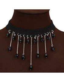 Vintage Black Beads Tassel Pendant Decorated Hollow Out Lace Chocker