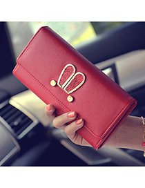 Sweet Red Metal Rabbit Ears Shape Decoratead Pure Color Handbag Reviews