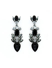 Luxury Black Geometric Shape Gemstone Decorated Simple Earring