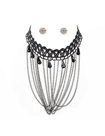 Vintage Black Beads Shape Pendant Decorated Tassel Jewelry Sets