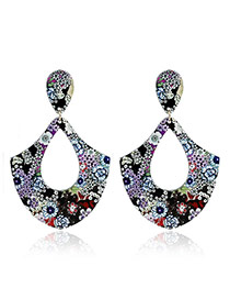 Exaggerated Multi-color Painting Flower Pattern Decorated Hollow Out Irregular Shape Earrings