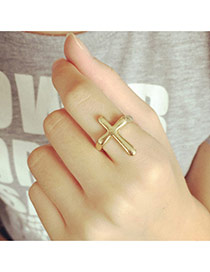 Fashion Gold Color Cross Decorated Pure Color Simple Ring