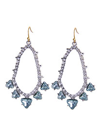 Fashion Light Blue Triangle Shape Diamond Decorated Hollow Out Earrings