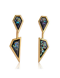 Fashion Gold Color+black Diamond Decorated Irregular Shape Design Simple Earrings