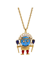 Fashion Gold Color Round Shape Diamond Decorated Cartoon Pattern Shape Design Necklace