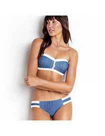 Sexy Blue Color Matching Decorated Strapless Design Simple Bikini