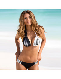 Sexy White+black Strip Pattern Decorated Color Matching Off-the-shoulder Simple Bikini
