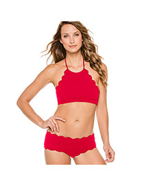 Sexy Red Pure Color Decorated Wave Hem Off-the-shoulder Simple Bikini
