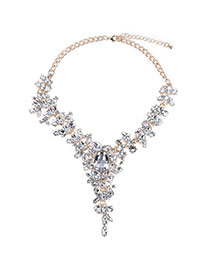 Fashion White Water Drop Shape Diamond Decorated Simple Short Necklace