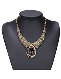 Exaggerated Black Water Drop Shape Gemstone Decorated Irregular Shape Necklace
