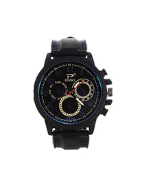 Fashion Sapphire Blue Big Digital Decorated Pure Color Strap Big Dial Design Watch