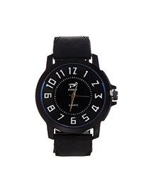 Fashion Black+white Big Digital Decorated Pure Color Strap Big Dial Design Watch