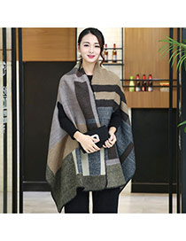 Fashion Gray+white Geometric Shape Pattern Decorated Cloak Shape Design Scarf