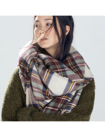 Fashion Blue Grid Pattern Decorated Sqaure Shape Simple Scarf