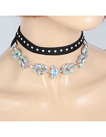 Fashion Multi-color Oval Shape Diamond Decorated Double Layer Simple Choker