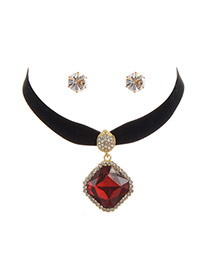 Fashion Red Square Shape Diamond Decorated Simple Width Jewelry Sets