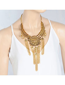 Fashion Gold Color Long Tassel Pendant Decorated Pure Color Necklace