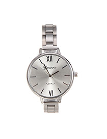 Fashion Silver Color Pure Color Decorated Large Dial Design Simple Watch