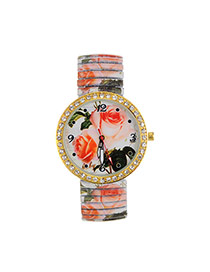 Fashion Orange Flower Pattern Decorated Large Dial Design Strech Watch