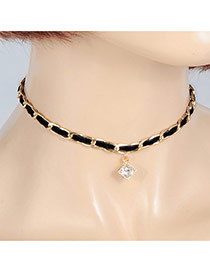 Fashion Black Square Shape Diamond Pendant Decorated Simple Choker