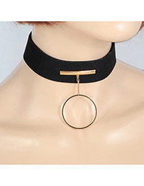 Fashion Gold Color Round Shape Pendant Decorated Simple Width Choker