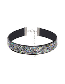 Fashion Multi-color Round Shape Diamond Decorated Simple Width Choker