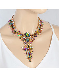 Exaggerate Plum Red &green Oval Shape Diamond Decorated Short Chain Necklace