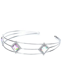 Sweet Multi-color Square Shape Decorated Simple Double Layer Hair Clasp