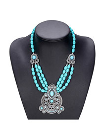 Vintage Blue Round Shape Decorated Simple Hollow Out Necklace
