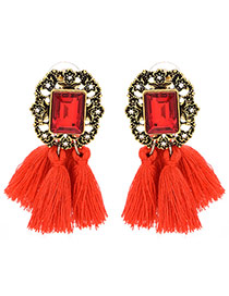 Vintage Red Tassle Pendant Decorated Square Shape Simple Earrings