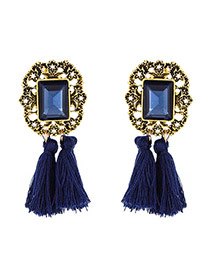 Vintage Blue Tassle Pendant Decorated Square Shape Simple Earrings