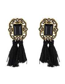 Vintage Black Tassle Pendant Decorated Square Shape Simple Earrings