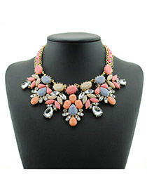 Bohemia Pink Watershape Diamond Decorated Short Chain Necklace
