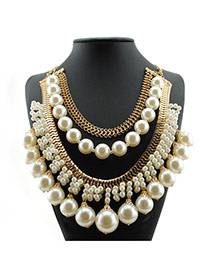 Personality White Round Shape Decorated Simple Multilayer Short Chain Necklace