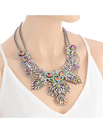 Fashion Multi-color Oval Shape Diamond Decorated Souble Layer Necklace