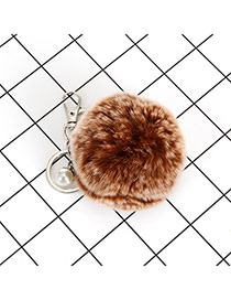 Lovely Purple Fuzzy Ball &pearl Decorated Simple Key Ring