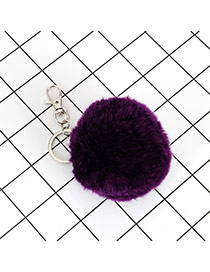 Lovely Purple Fuzzy Ball Decorated Simple Key Ring