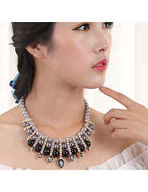 Elegant Black Round Shape Decorated Simple Multilayer Short Chain Necklace