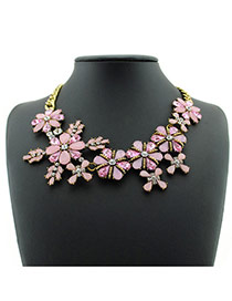 Sweet Pink Flower Shape Decorated Simple Short Chain Necklace