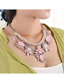 Elegant Pink Geometric Shape Diamond Decorated Simple Necklace