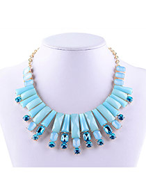 Elegant Blue Square Shape Gemstone Decorated Short Chain Necklace