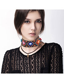 Bohemia Brown Painted Design Decorated Double Layer Choker