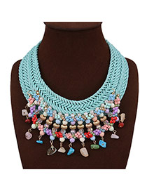 Elegant Multi-color Weaving Tassel Pendant Decorated Hand-woven Chain Necklace